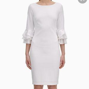 Calvin Klein Boat Neck 3/4 Sleeve Sheath Dress